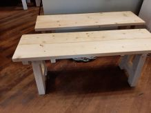 Handgemaakte houten bank blank 120 cm