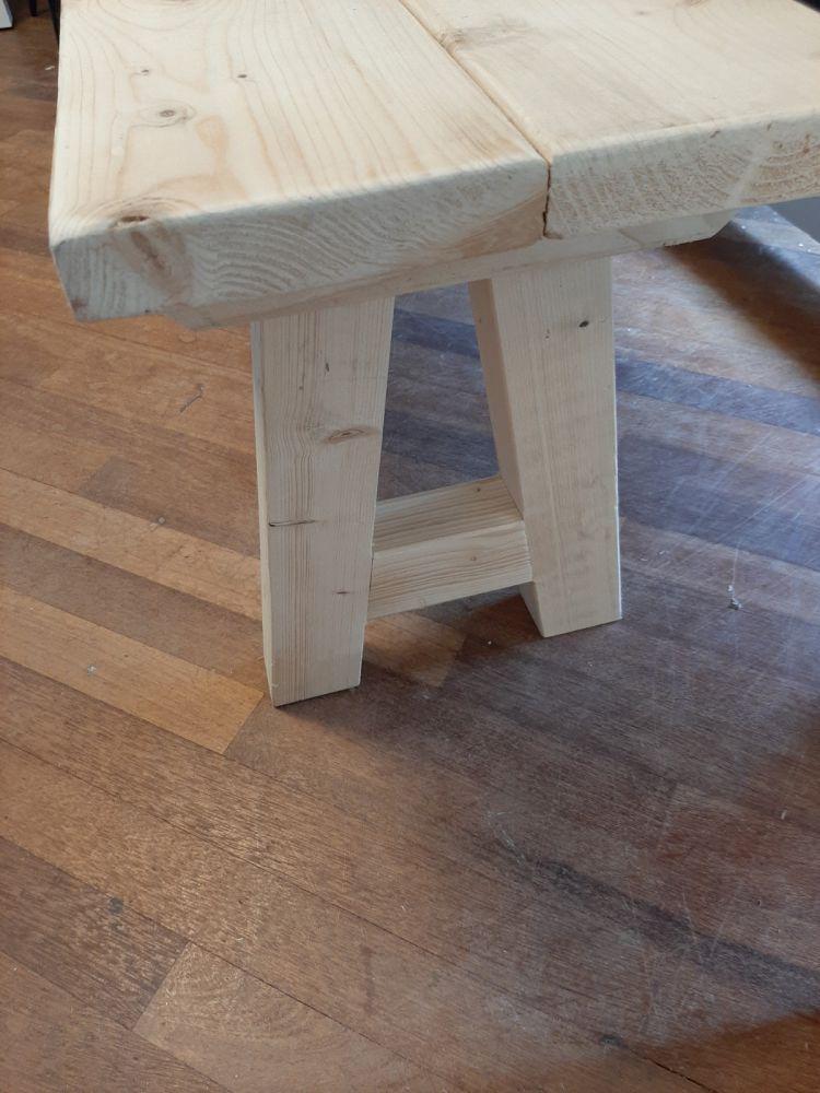 handgemaakte houten bank blank 130 cm