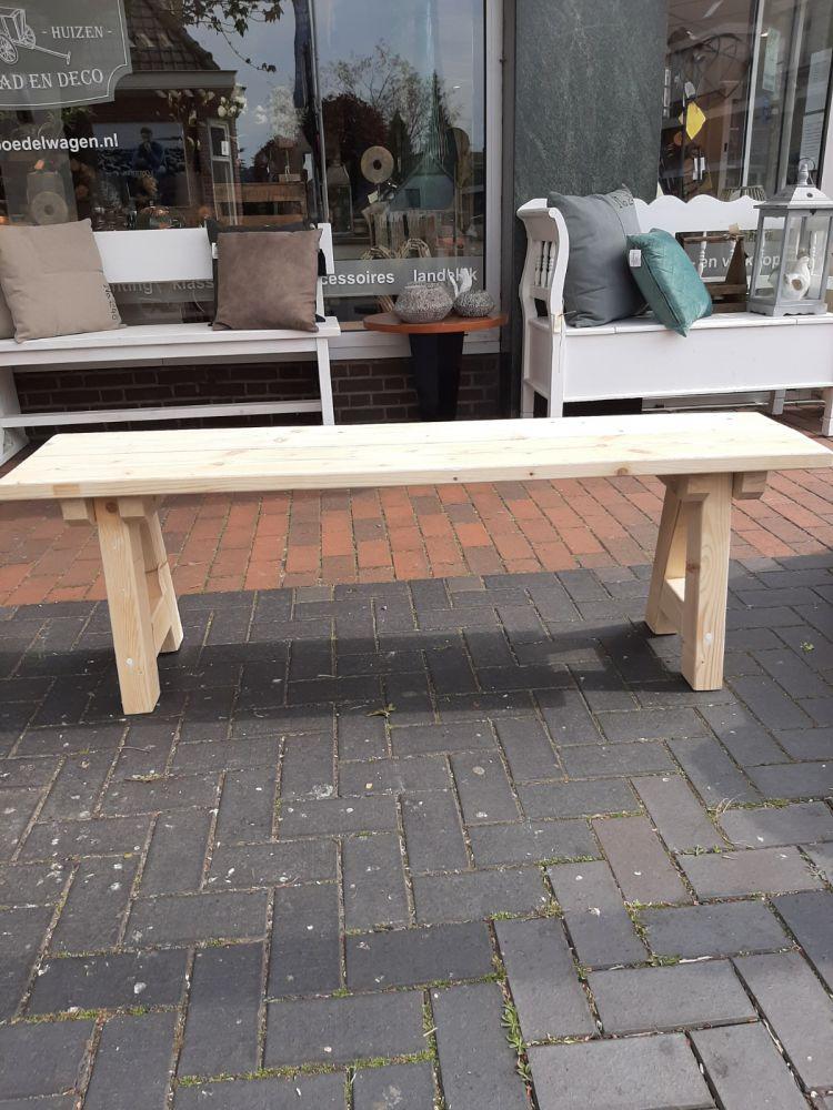 handgemaakte houten bank blank 150 cm