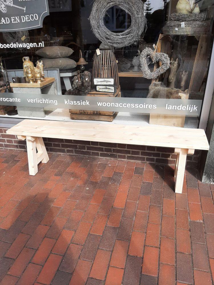 handgemaakte houten bank blank 180 cm