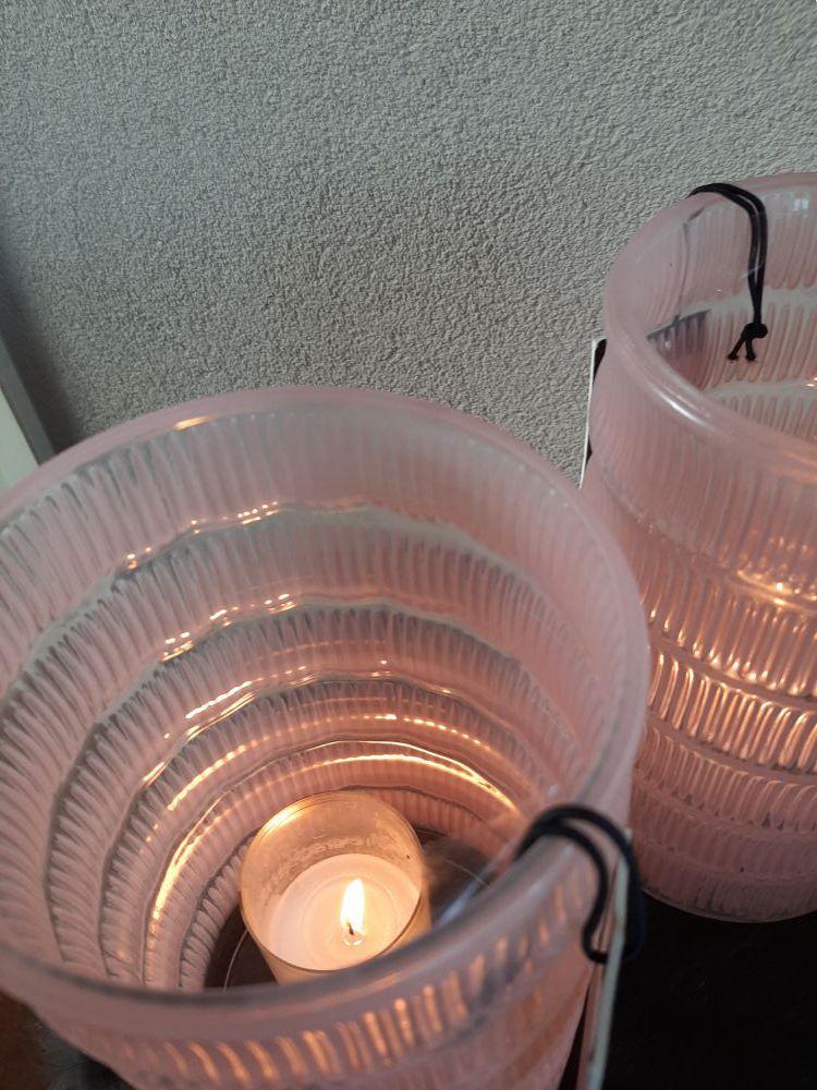 roze windlichtvaas glas