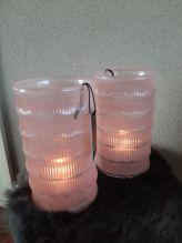 Roze windlicht/vaas glas