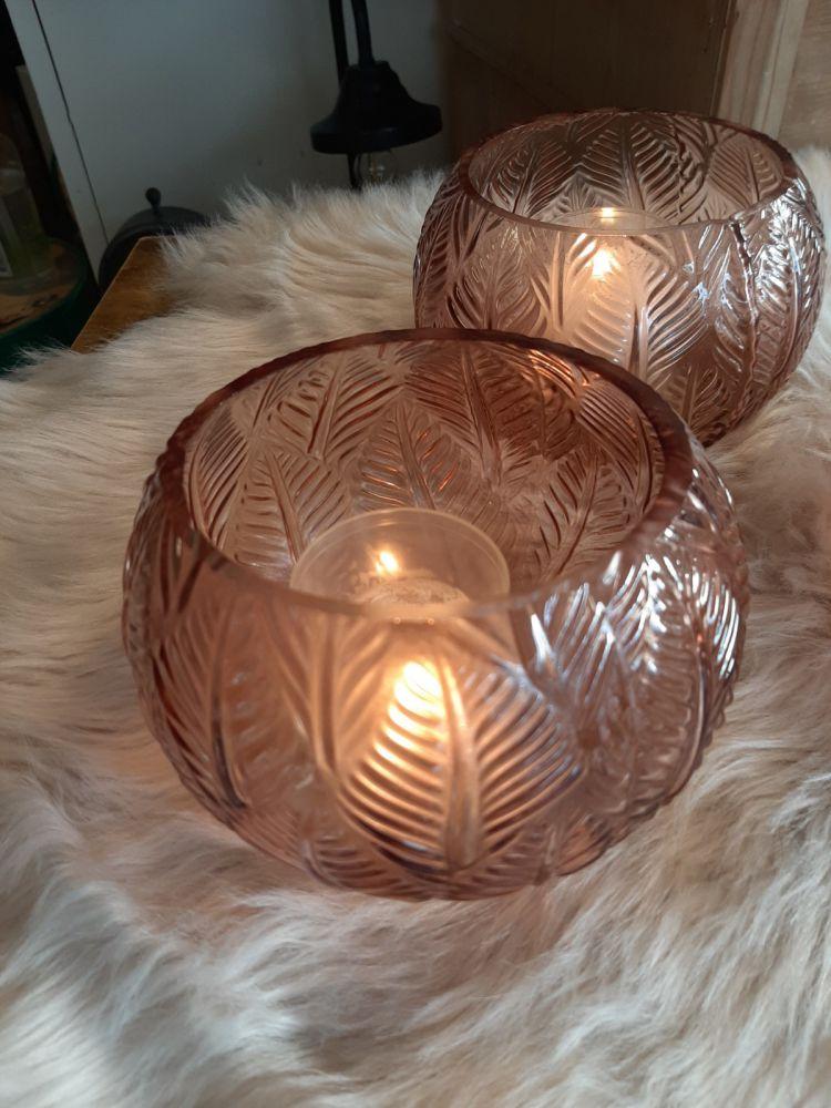 windlicht glas roze sale